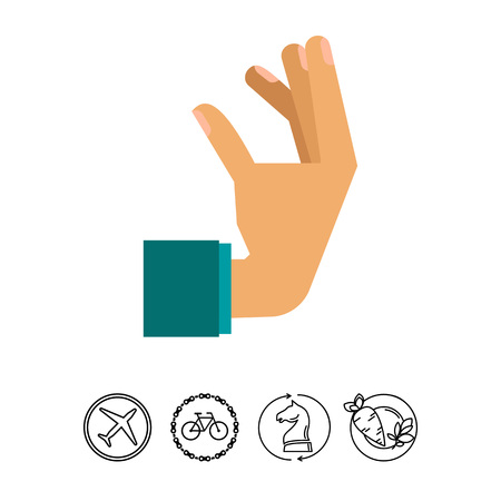 Multicolored vector icon of human hand showing gesture