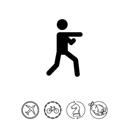 aikido: Icon of man silhouette doing karate Illustration