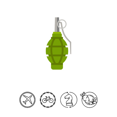 Grenade. Explosion, throwing, danger. Bomb concept. Can be used for topics like war, weapon, technology.