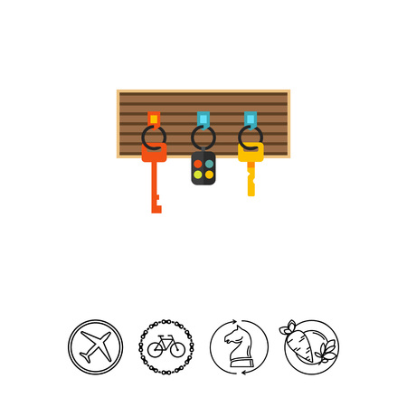 Multicolored vector icon of keys and alarm keychain hanging on board Illustration