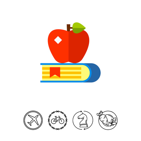 Book with bookmark and red apple on it. Teaching, reading, learning. Knowledge concept. Can be used for topics like study, teaching, education.