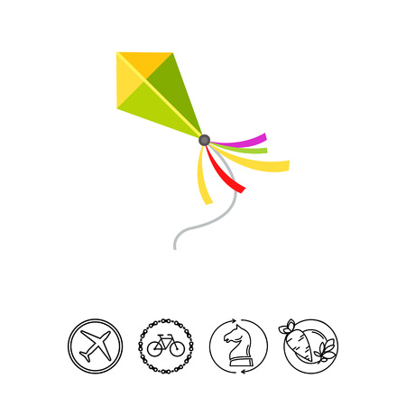 Illustration of kite flying. Entertainment, leisure activity, summer, childhood. Leisure activity concept. Can be used for topics like toys, leisure activity, entertainment Illustration