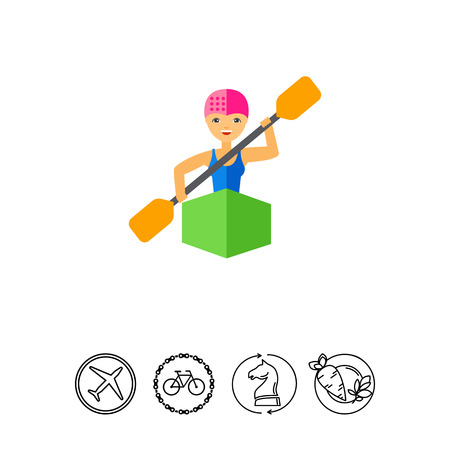 paddles: Kayaker woman sitting in kayak and rowing, front view. Water, transportation, danger. Kayaking sport concept. Can be used for topics like sport, health, competitions.
