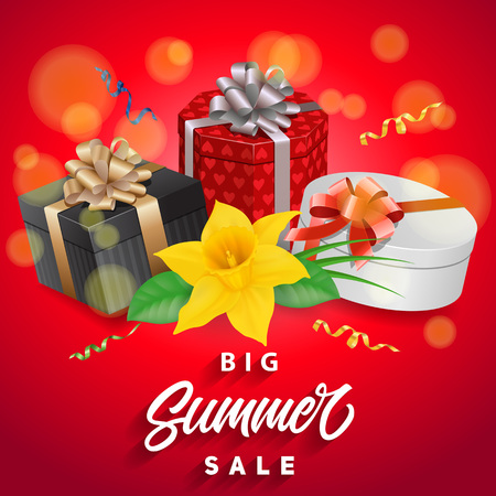 Big summer sale lettering with gifts and narcissus. Handwritten and typed text, calligraphy. For posters, banners, leaflets and brochures. Illustration