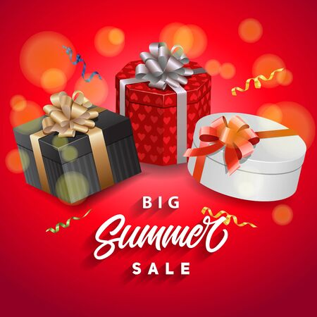 Big summer sale lettering with gifts. Handwritten and typed text, calligraphy. For posters, banners, leaflets and brochures.