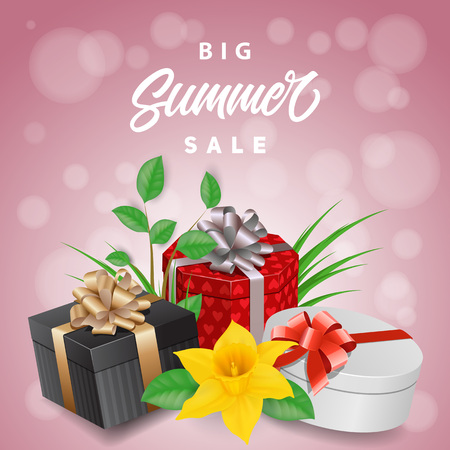 Big summer sale lettering with gifts and daffodil. Handwritten and typed text, calligraphy. For posters, banners, leaflets and brochures.