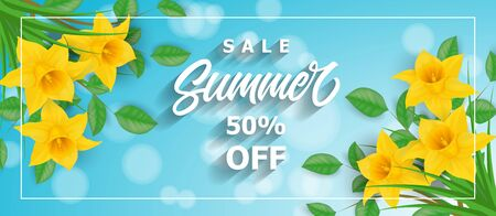 Sale summer fifty percent off lettering in frame with narcissuses. Handwritten and typed text, calligraphy. For posters, banners, leaflets and brochures. Vettoriali