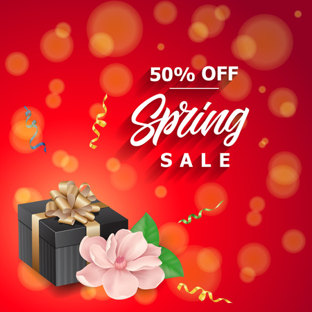 Fifty percent off spring sale lettering with gift and flower. Handwritten and typed text, calligraphy. For posters, banners, leaflets and brochures.
