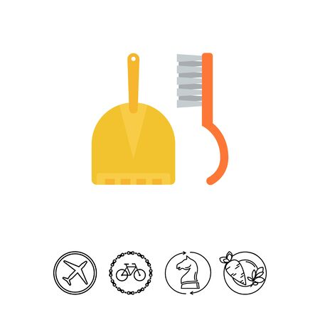 sweeping: Dustpan and sweeping brush Illustration