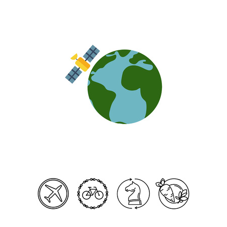 Earth globe and satellite