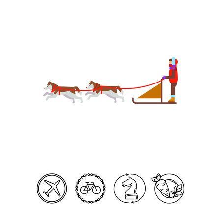 sledge dog: Dogteam and Sled with Man Ruling It Icon