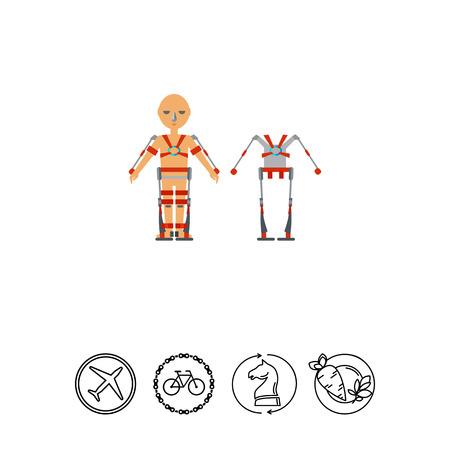 Multicolored flat icon of exoskeleton man wearing exoskeleton