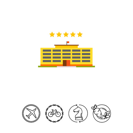 Multicolored vector icon of yellow hotel building and five stars