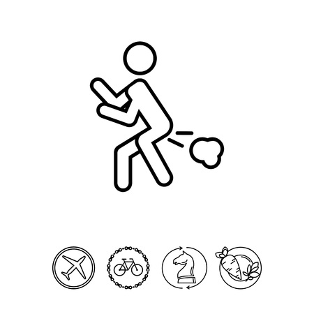 Icon of man silhouette with flatulence