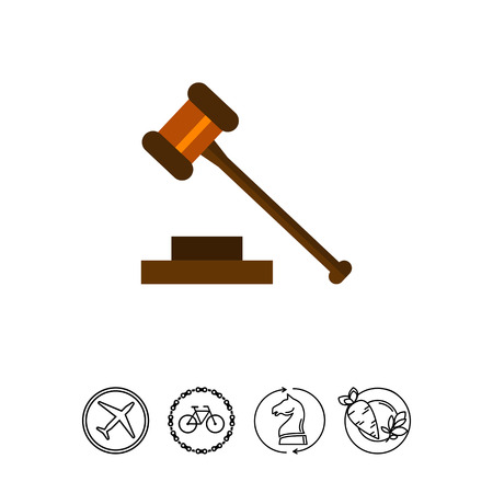 Multicolored vector icon of judge gavel isolated on white Stock Vector - 78441833