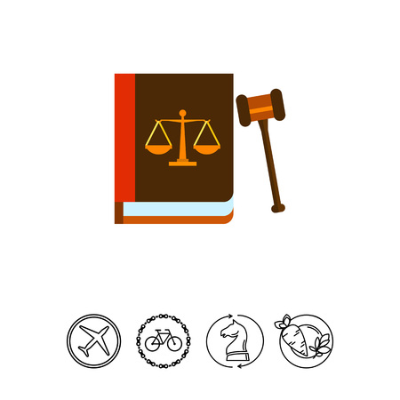 justice scale: Illustration of gavel and book with scales image on its cover. Law, legislation, judgment. Law concept. Can be used for topics like law, legislation, justice Illustration