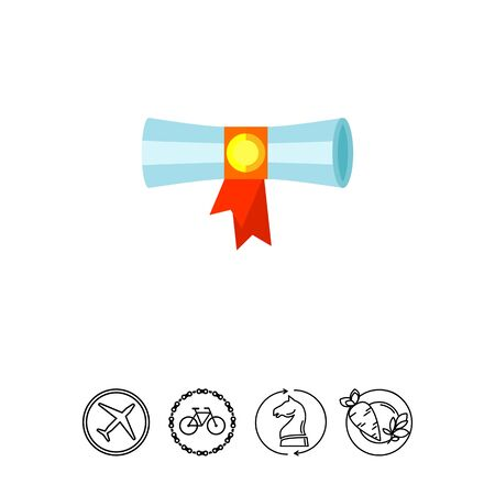 Multicolored vector icon of diploma scroll banded with red ribbon Illustration