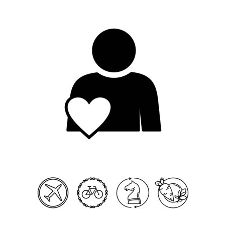 Person with heart symbol. Involvement, engagement, participation. Involvement concept. Can be used for topics like network, business, work