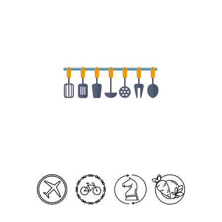 Multicolored vector icon of kitchen tools set Illustration