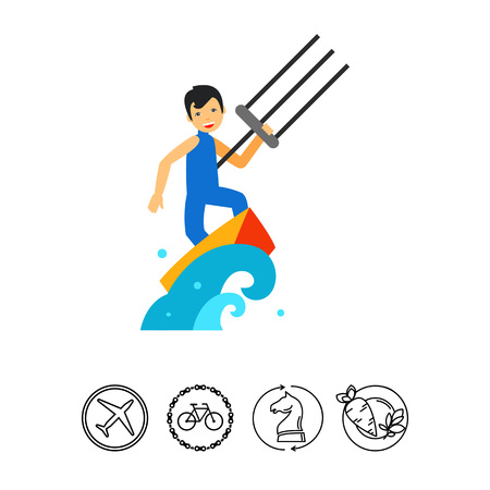 Smiling kite surfer surfing on board in sea. Wave, wind, extreme. Kite surfing concept. Can be used for topics like sport, health, leisure.