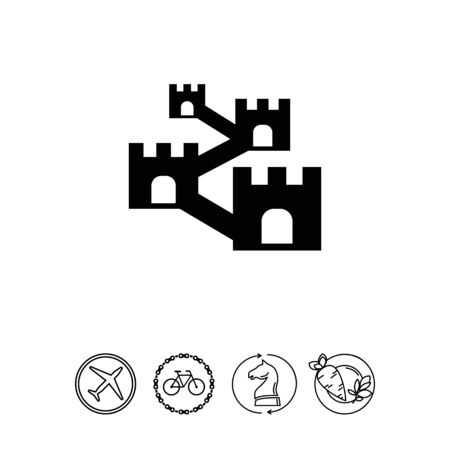 Vector icon of defensive wall with towers Stock Vector - 78442664