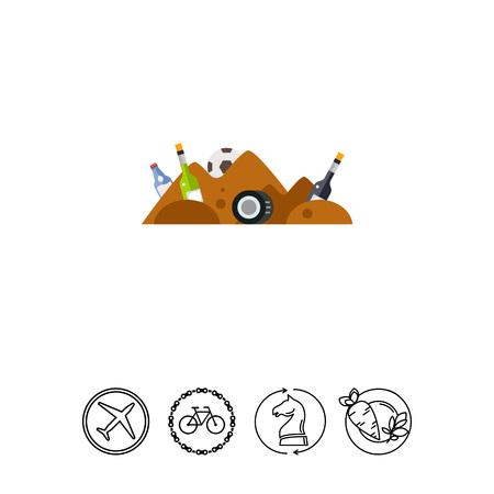 trash danger: Garbage Pile Waste Vector Icon