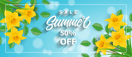 Sale Summer Lettering and Narcissuses