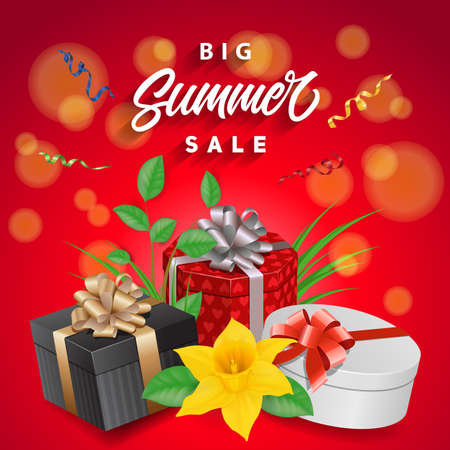 Big Summer Sale Lettering and Daffodil
