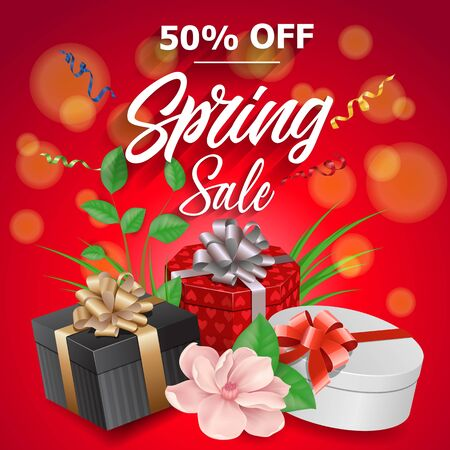 Spring Sale Lettering and Three Gifts Stock Photo