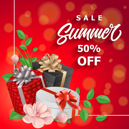 Sale Summer Fifty Percent off Lettering Stock Photo