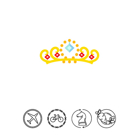 Gold Crown with Gemstones Icon Illustration