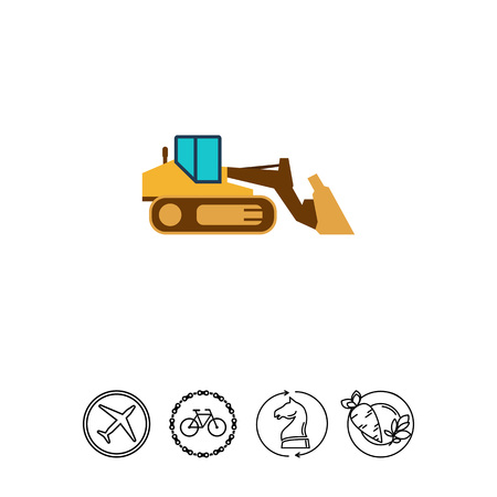 movers: Industrial bulldozer icon Illustration