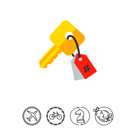 Key with Tag as Keywording Concept Icon Illustration