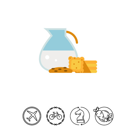 Jug with milk and cookies Illustration