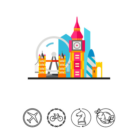 london tower bridge: London with Tower Bridge and Big Ben Icon Illustration