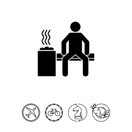 Man in Sauna Room Icon Иллюстрация