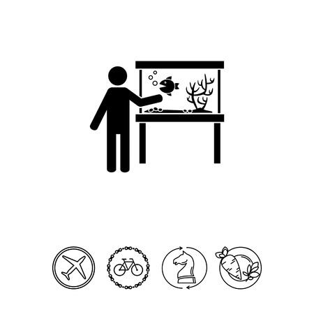 plant stand: Man Standing by Aquarium Icon