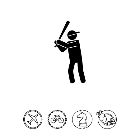 mobile apps: Man with Bat as Baseball Concept Icon Illustration