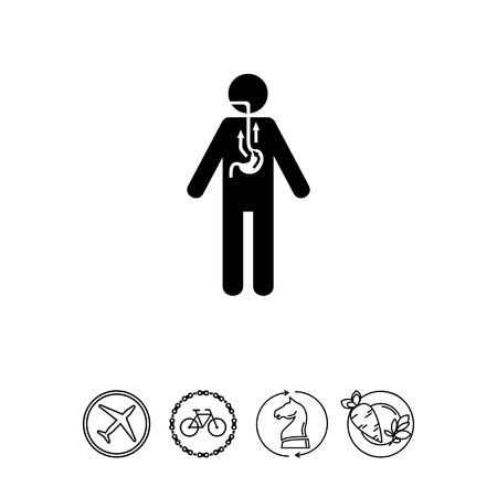 Man Suffering from Reflux Icon Illustration