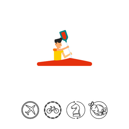 Man Riding Red Canoe Icon