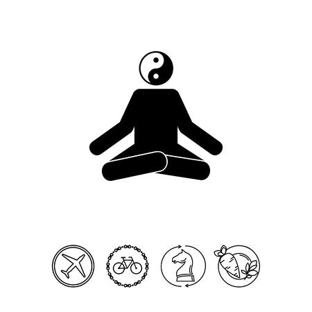 Meditating Man in Lotus Position Icon Çizim