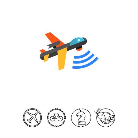 combatant: Military drone flat icon