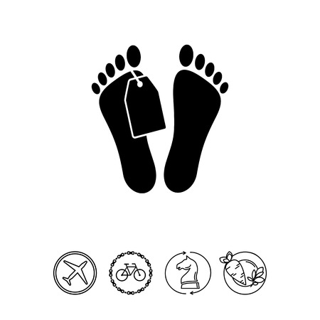 toe tag: Morgue Concept and Mans Feet with Tag Icon
