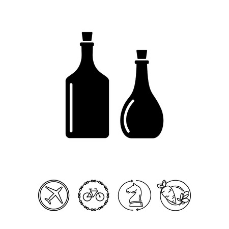cooking oil: Monochrome vector icon of two oil bottles with cork plugs