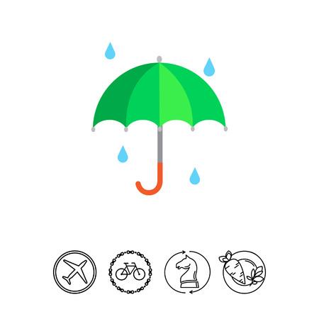 Vector icon of open umbrella and falling raindrops