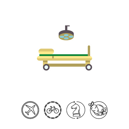 Multicolored vector icon of operating table and lamp Illustration