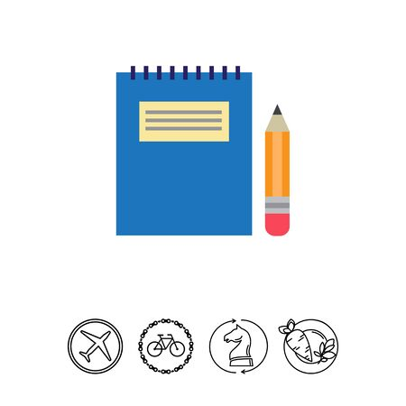 note paper: Icon of notepad with blue cover and pencil