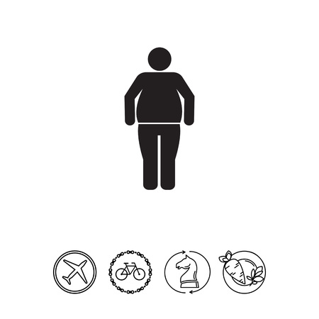 Vector icon of standing obesity man silhouette