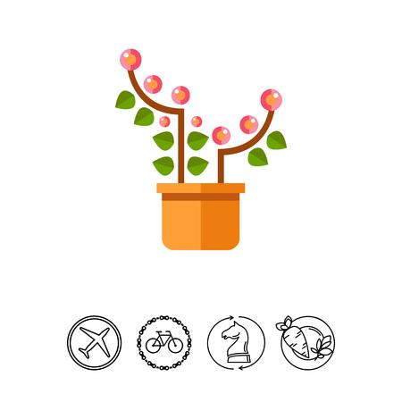 potting soil: Pink blooming flower Illustration