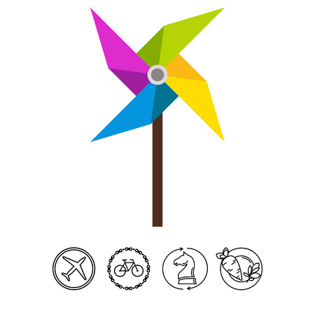 four objects: Pinwheel Vector Icon